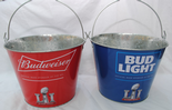 Budweiser, Official Beer of the NFL, Super Bowl LI, Beer Bucket, Galvanised Tin with handle